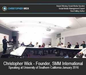 Award-winning speaker, Christopher Wick, welcomed on first day of class by USC graduate students' of world's only master's social media program